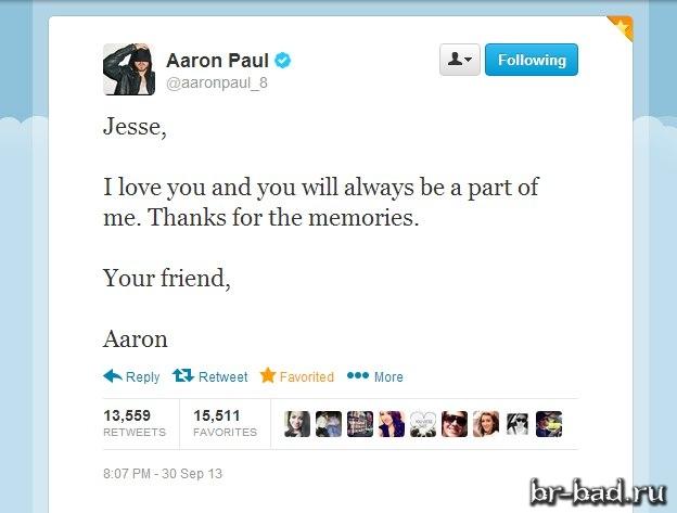 Твит от Пола Аарона